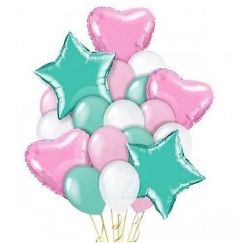 Набор шаров Розовый Тиффани 16+5