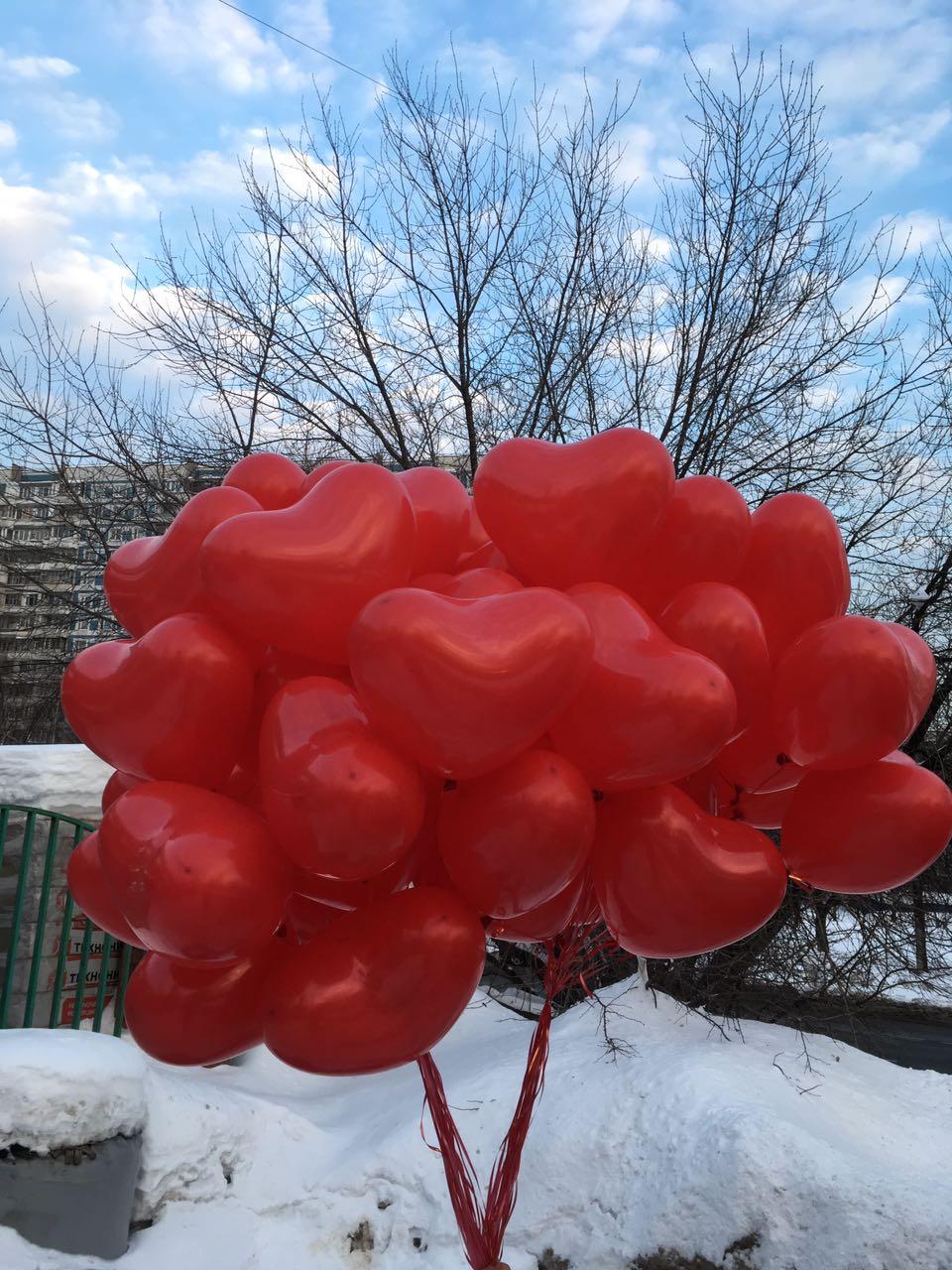 шары сердца красны 50 штук