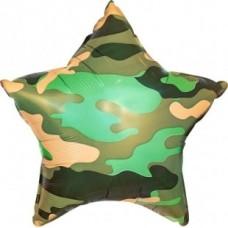"""Фольгированная звезда """"Камуфляж"""" 46 см"""