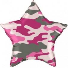 """Фольгированный шар звезда камуфляж """"Розовый"""" 46 см"""