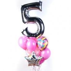 Набор розовых шаров с цифрой