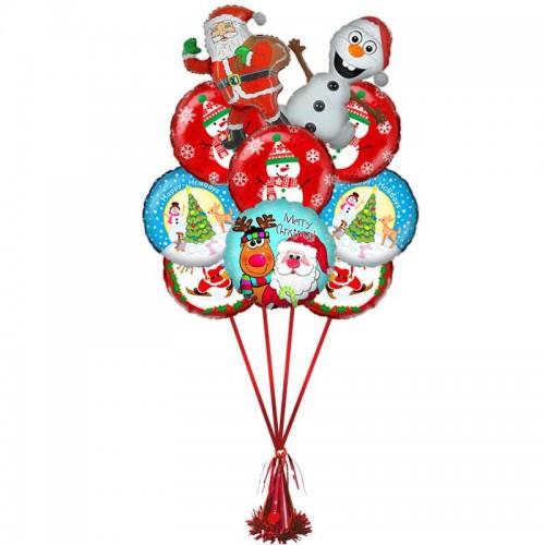 """Композиция из шаров на Новый Год  """"Снеговик и Дед мороз"""""""