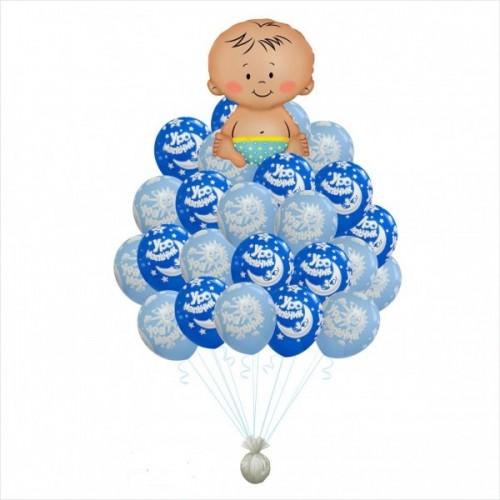 Букет воздушных шаров на Рождение мальчика