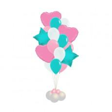 Букет шаров тиффани белый-розовый сердца и звёзды