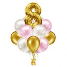 Набор из 15 розовых и золотых шаров с цифрой - цвета на выбор