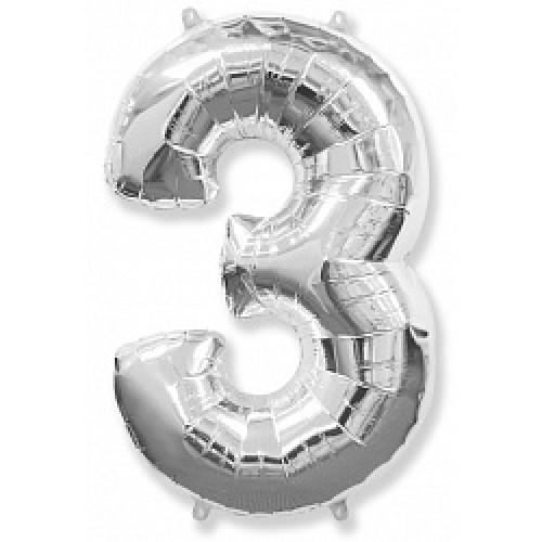 """Шар """"Цифра 3"""" серебро."""