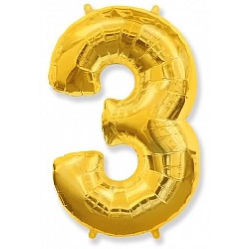 """Шар """"Цифра 3"""" золото."""