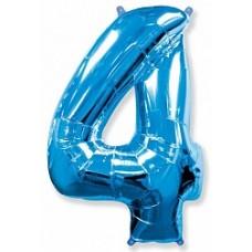 """Шар """"Цифра 4"""" синий."""