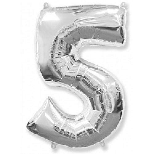 """Шар """"Цифра 5"""" серебро."""