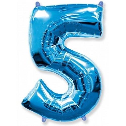 """Шар """"Цифра 5"""" синий."""