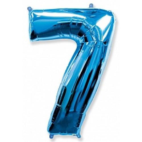 """Шар """"Цифра 7"""" синий."""