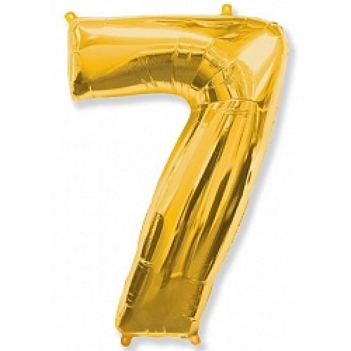 """Шар """"Цифра"""" 7 золото."""