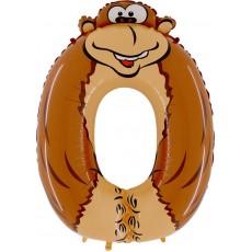 Фольгированный шар цифра 0 обезьяна 102 cм