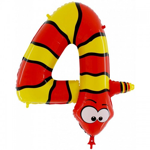 Фольгированный шар цифра 4 змея 102 см