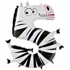 Фольгированный шар цифра 5 зебра 102 см