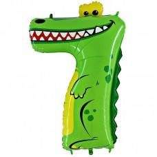 Фольгированный шар цифра 7 крокодил