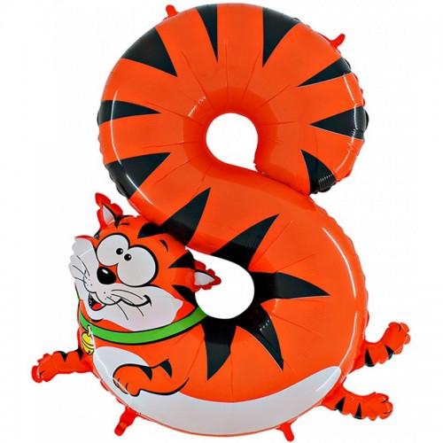 Фольгированный шар цифра 8 кот 102 см