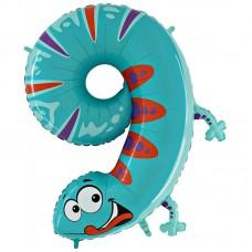 Фольгированный шар цифра 9 ящерица 102 см