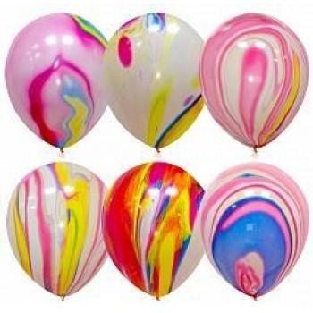 Воздушные шарики с гелием Ассорти Мрамор