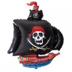 """Шар """"Пиратский корабль"""" черный 81 см"""