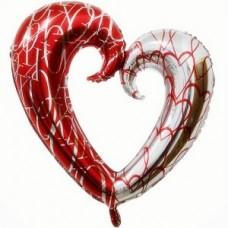 """Шар """"Сердце"""" красное серебро 109 см"""