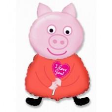 """Шар """"Свинка пеппа"""" розовая 81 см"""