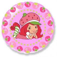 """Шар круг """"Клубничка и ягоды"""" розовый."""