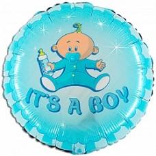 """Шар круг """"Новорожденный малыш"""" голубой."""