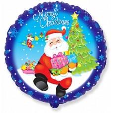 "Шар круг ""Санта с подарками"" синий."