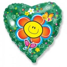 """Шар Сердце """"Цветок-Улыбка"""" 46 см"""
