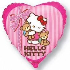 """Шар сердце """"Котенок лучшие друзья"""" розовый."""