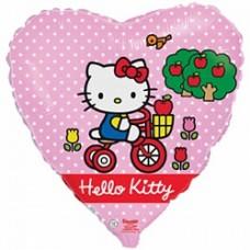 """Шар сердце """"Котенок на велосипеде"""" розовый."""