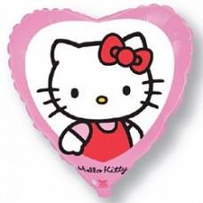 """Шар сердце """" Котенок с бантиком"""" розовый."""