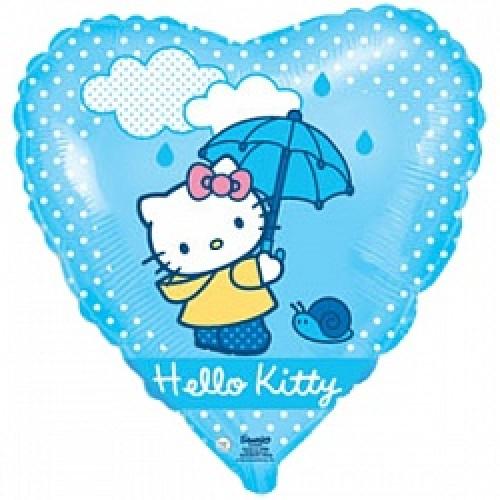 """Шар cердце """"Котенок с зонтиком"""" голубой."""