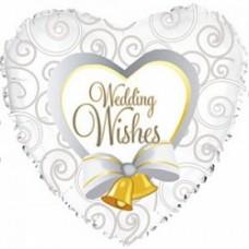 """Шар сердце """"Свадебные колокольчики"""" белый."""