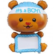 """Фольгированный шар для надписей """"Мишка-мальчик"""""""