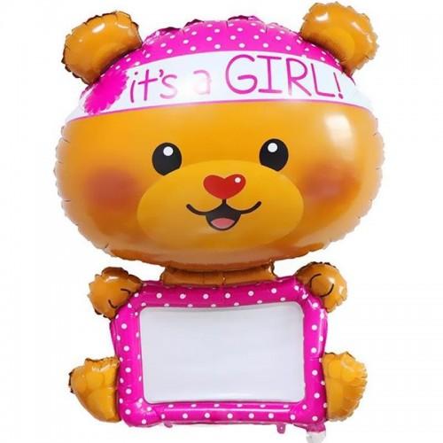 """Фольгированный шар для надписей """"Мишка-девочка"""""""