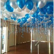 """Воздушные шары с гелием """"Синее серебро"""""""