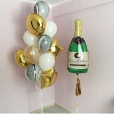 """Готовая композиция из шаров """"Бутылка шампанского"""""""