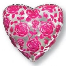 """Фольгированный шар """"Сердце в розах"""""""