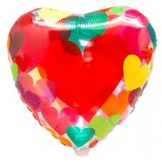 """Фольгированный шар """"Разноцветные сердечки"""""""