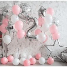 """Готовая композиция из шаров """"Розовые облака"""""""