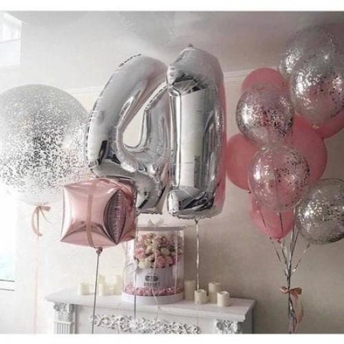 "Готовая композиция из шариков  ""Happy birthday"""