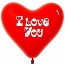 Шары сердца красные с надписью Love You