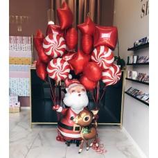 """Композиция из шаров """"Дед мороз и Оленёнок"""""""