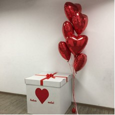 """Коробка с шарами """"Фольгированные сердца красные"""""""