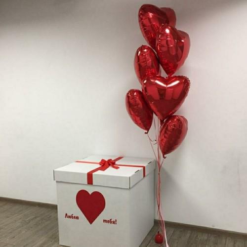 """Коробка с шариками """"Фольгированные сердца красные"""""""