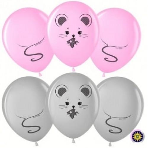 """Воздушные шары """"Мышка"""" серебро+розовый"""