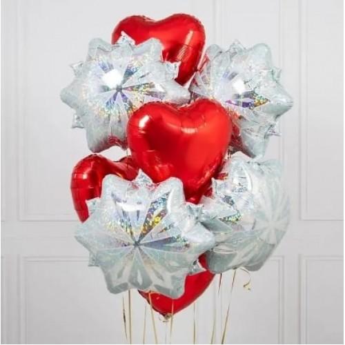 """Новогодний букет шаров """"Снежинки Love"""""""