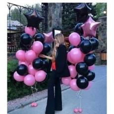 """Букет шаров чёрные-розовые со звёздами """"Infiniti"""""""